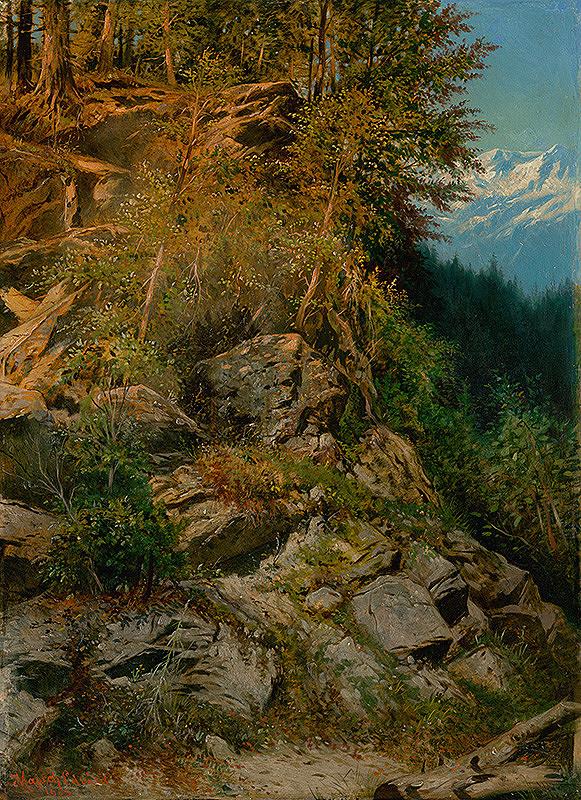 Eduard Majsch – Skalnaté úbočie v horskej krajine