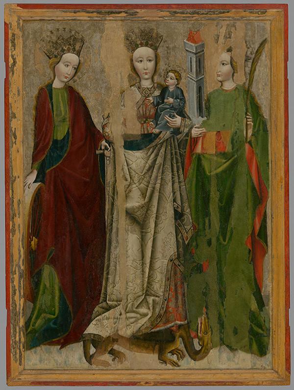 Neznámy autor - Madona na drakovi medzi svätou Katarínou a Barborou