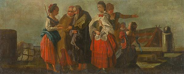 Taliansky maliar z 18. storočia – Lúčenie v prístave