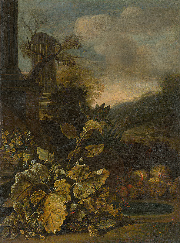 Talianský maliar zo začiatku 18. storočia – Romantická krajina so zátiším a s antickým stĺpom