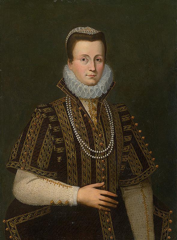 Západoeurópsky maliar zo 16. storočia – Portrét dámy s bielym okružím