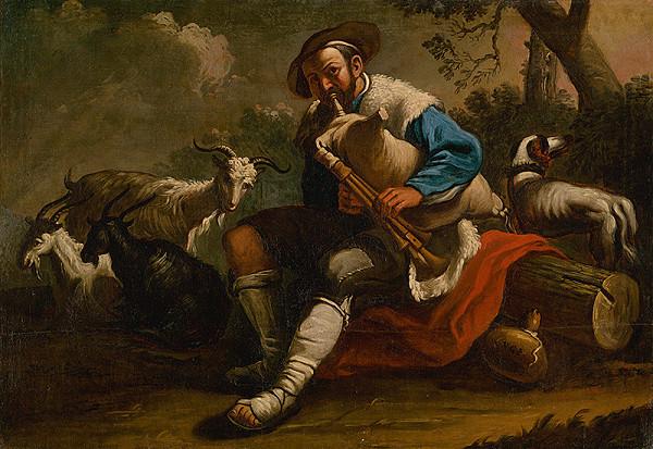 monogramista V. G., z polovice 18. storočia Nemecký maliar – Pastier so stádom