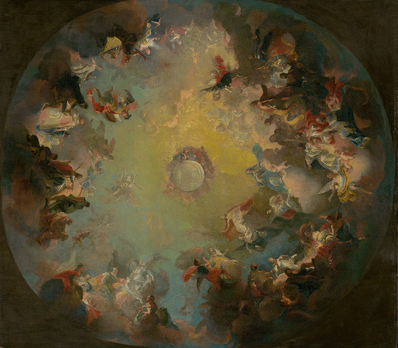 Franz Anton Maulbertsch (okruh autora) – Nanebovzatie Panny Márie. Skica pre kupolovú fresku katedrály vo Váci, 1750 – 1760, Slovenská národná galéria, voľné dielo