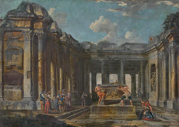 Taliansky maliar z 1. polovice 18. storočia, Giovanni Paolo Pannini – Výjav z rímskych dejín v antických zrúcaninách