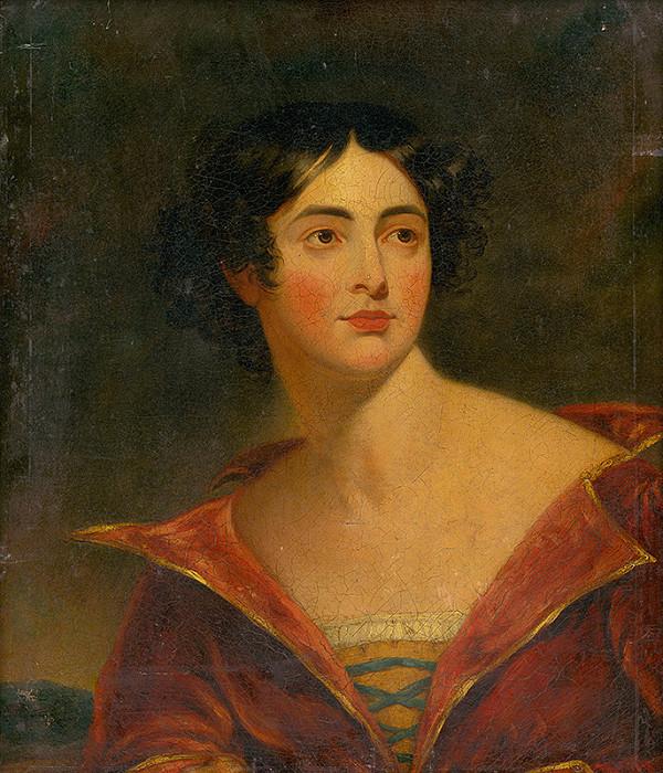 Nemecký maliar z 1. polovice 19. storočia – Podobizeň ženy v červenom šate