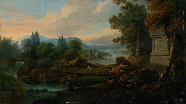 Nemecký maliar z 1. polovice 18. storočia – Romantická krajina s morskou zátokou