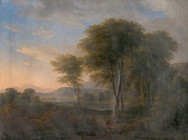 Nemecký maliar zo začiatku 19. storočia – Romantická krajina so stromom v pozadí