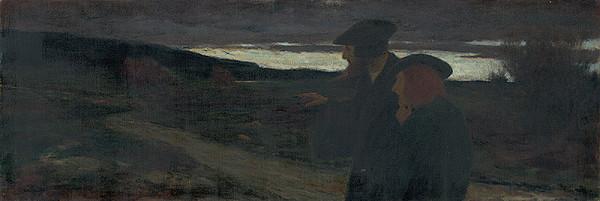Nemecký maliar zo začiatku 19. storočia – Dve postavy pri západe slnka