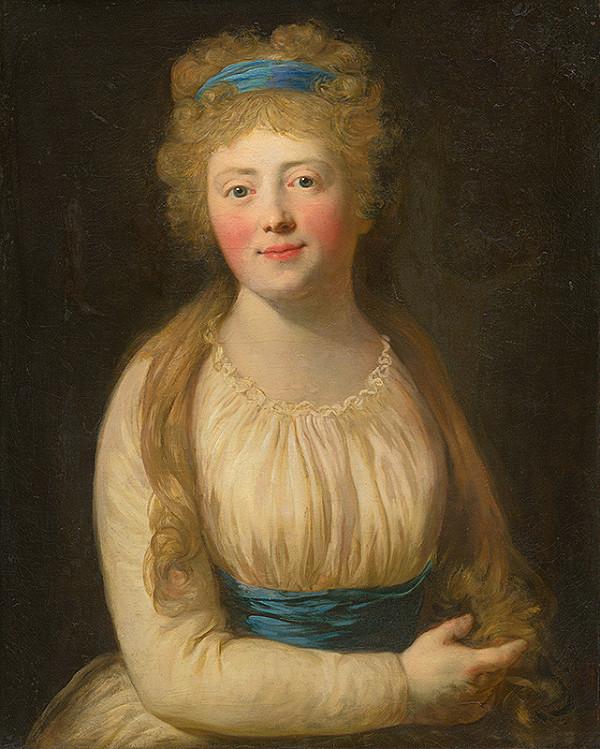 Viedenský maliar z konca 18. storočia – Podobizeň ženy v bledom šate s modrou stužkou vo vlasoch