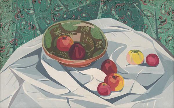 Ester Šimerová-Martinčeková - Zátišie - jablká a keramická misa