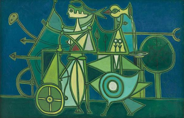 Óscar Domínguez – Kompozícia s modrým podkladom