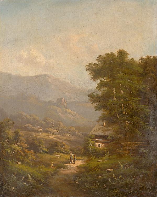 K. Hermann – Krajina s horskou cestou a zrúcaninou hradu