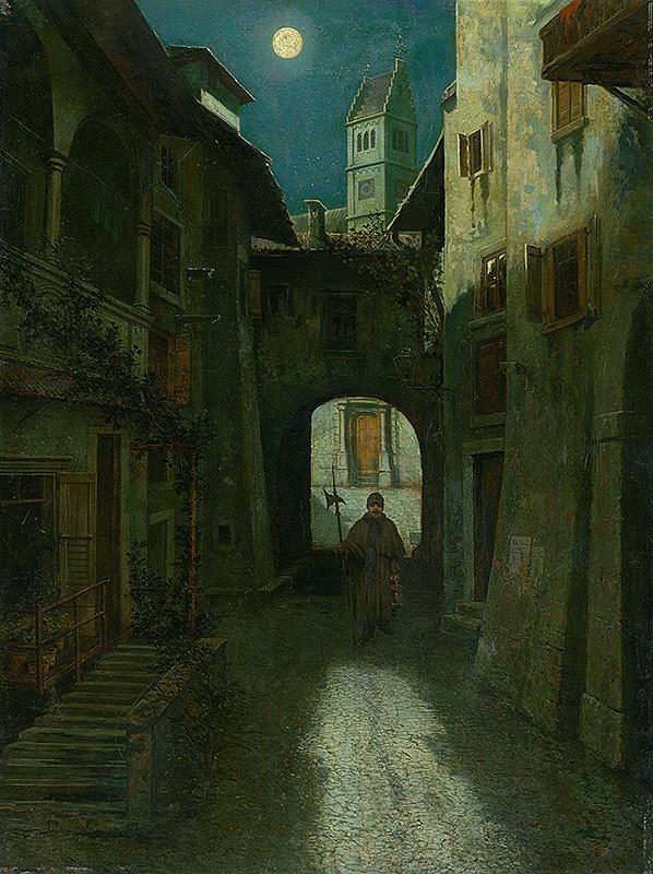 Eduard Majsch – Nočný vartáš v starom meste (Zell am See ?)