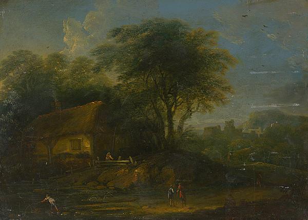 Nemecký maliar z 18. storočia - Krajina s rybárom