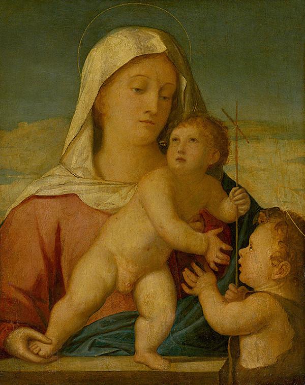 Benátsky maliar z 1. polovice 16. storočia - Madona s Ježiškom a malým Jánom Krstiteľom