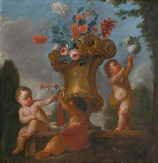 Stredoeurópsky maliar z 18. storočia - Anjeli s vázou I.