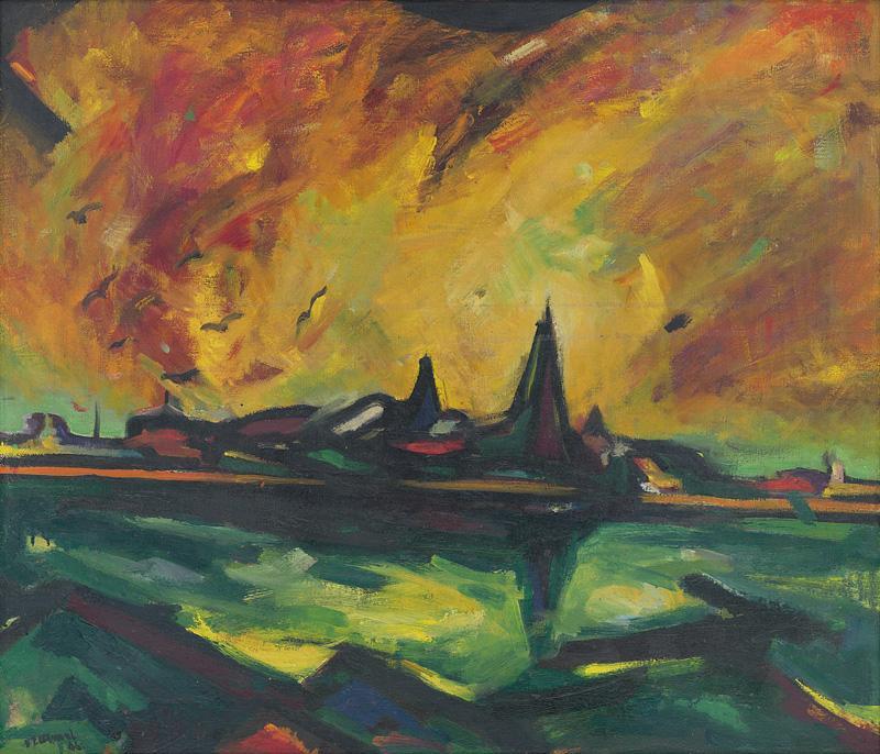 Viliam Chmel – Horiace mesto, 1946, Slovenská národná galéria