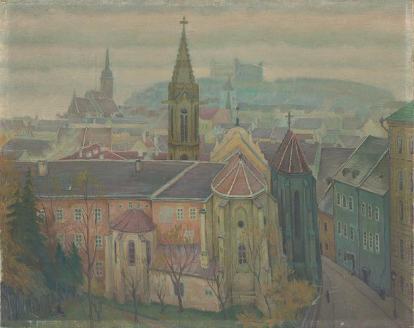 Slovenský maliar z 20. storočia - Pohľad na Bratislavu od Klariského kostola