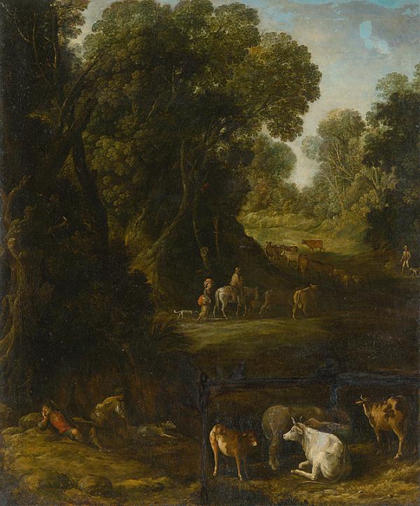 Nemecký maliar okolo roku 1700 – Lesný interiér s pocestnými a pastiermi dobytka