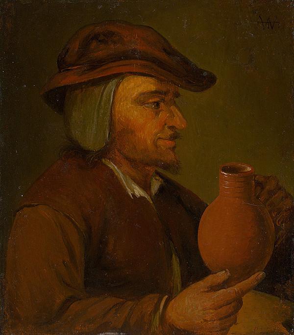 Holandský maliar zo 17. storočia – Muž s džbánom-kópia