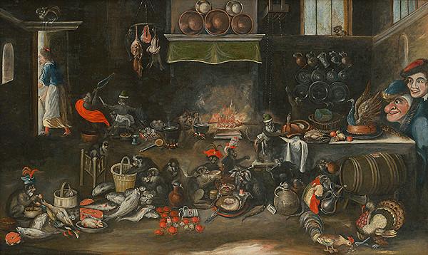Frans Francken II., Flámsky kopista z polovice 17. storočia - Opice v kuchyni