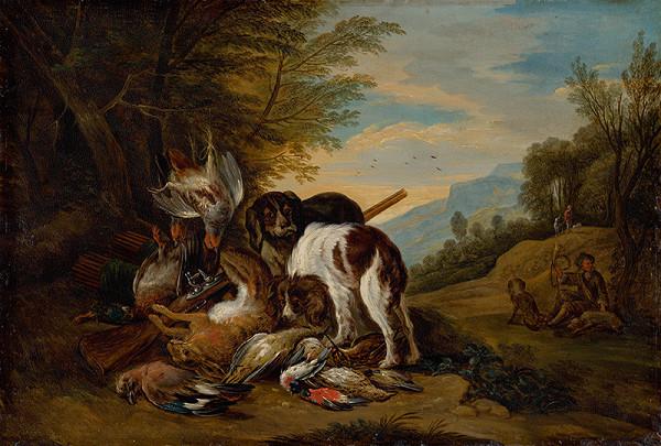 Adriaen de Gryef - Poľovnícke zátišie v krajine