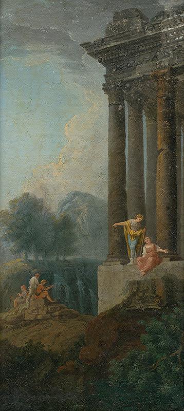 Taliansky maliar z 1. polovice 18. storočia, Giovanni Paolo Pannini – Romantická krajina s antickou zrúcaninou a štafážou