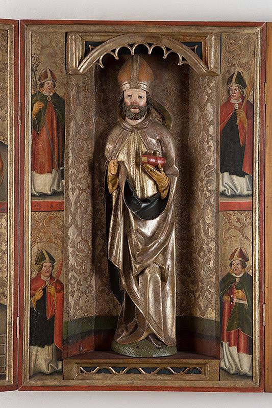 Slovenský maliar z 1. štvrtiny 16. storočia - Postavy svätcov-biskupov - 4 tabule