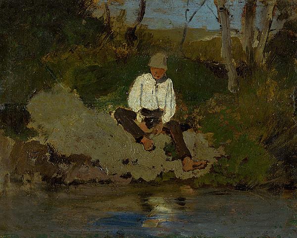 Ladislav Mednyánszky – Pastierik na brehu rieky