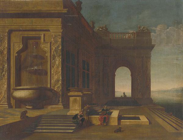 Nemecký maliar z 2. polovice 18. storočia – Architektúra paláca so štafážou