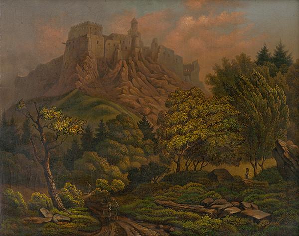 Stredoeurópsky maliar-diletant z 19. storočia – Krajina s hradom Stará Ľubovňa
