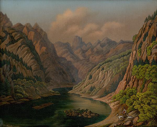 Stredoeurópsky maliar-diletant z 19. storočia, C. Marko – Riečne údolie v Alpskej krajine
