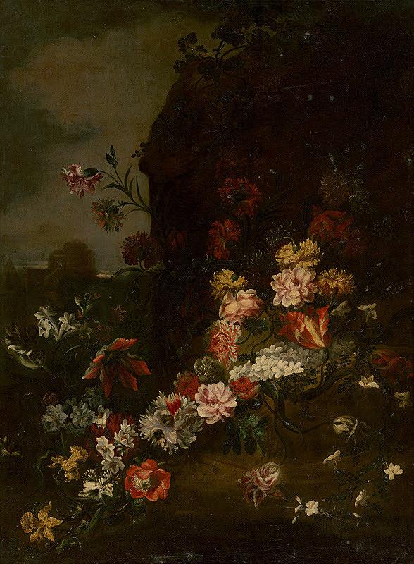 Taliansky maliar z konca 17. storočia - Kvetinové zátišie v prírode