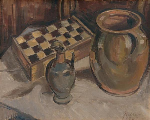 Ľudovít Fulla – Zátišie so šachovnicou