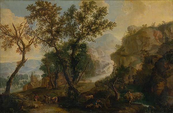 Nemecký maliar z konca 17. storočia – Romantická krajina so štafážou