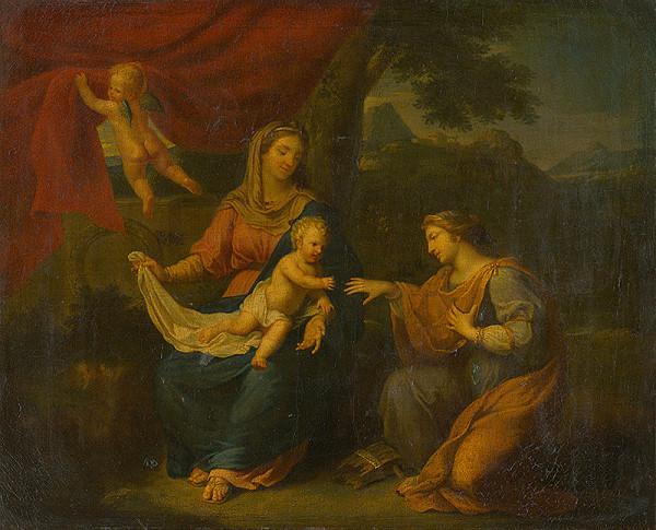 Nemecký maliar z konca 18. storočia – Sediaca Madona so sv.Katarínou