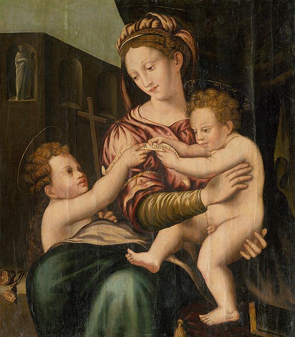 Taliansky maliar z 1. polovice 16. storočia - okruh Rafaela Santiho, Taliansky majster z 1. polovice 16. storočia – Madona s Ježiškom a svätým Jánom Krstiteľom