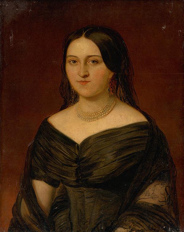 Stredoeurópsky maliar z 2. polovice 19. storočia - Podobizeň dámy v tmavých šatách