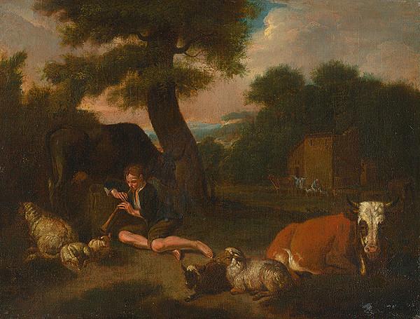 Nemecký maliar z 2. polovice 18. storočia - Pastier so stádom
