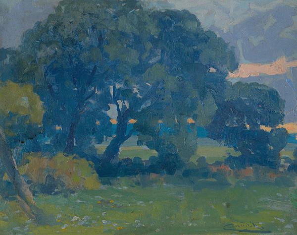 Ľudovít Čordák – Lúka so skupinou stromov