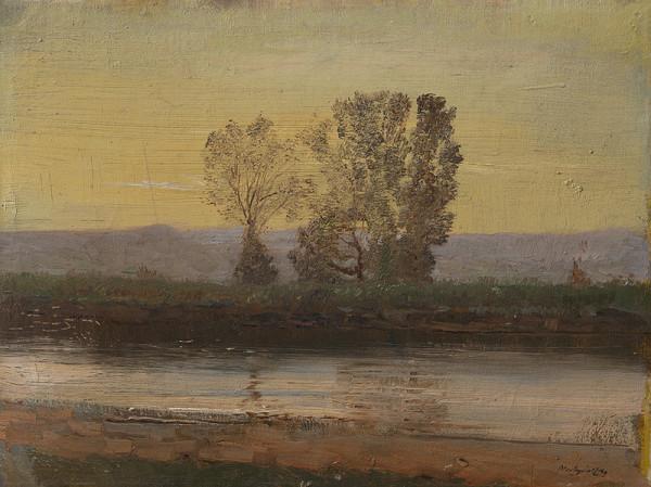 Ladislav Mednyánszky – Podvečerná krajina s riekou a skupinou stromov