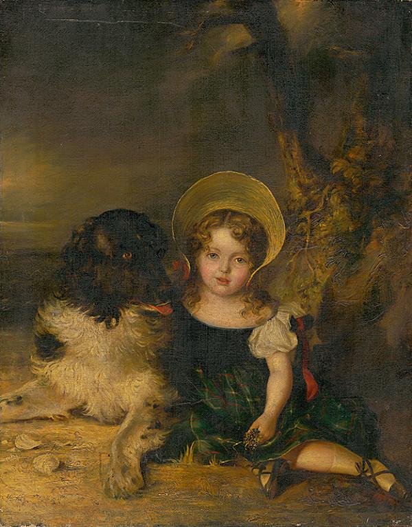 Stredoeurópsky maliar z 19. storočia - Dievčatko so psom