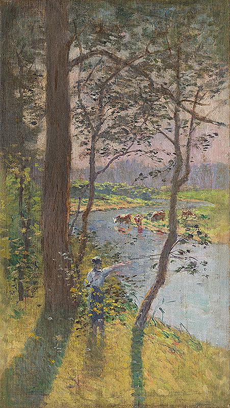 Ferdinand Katona - Krajina s riekou a napájajúcim sa dobytkom