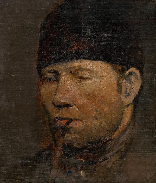 Ladislav Mednyánszky - Štúdia hlavy sedliaka s fajkou