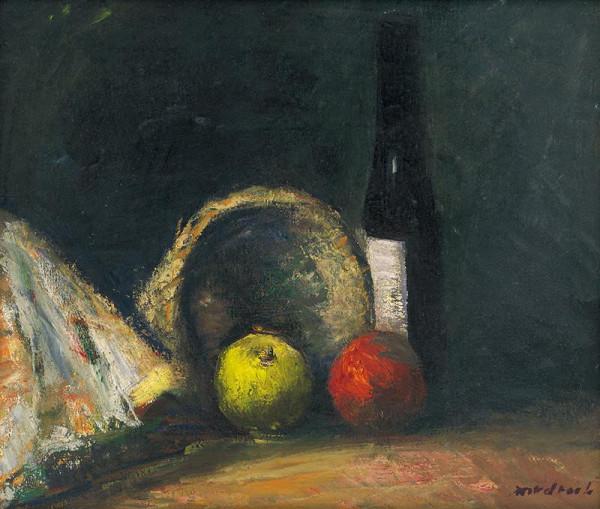 Ján Mudroch – Zátišie s jablkami a fľašou