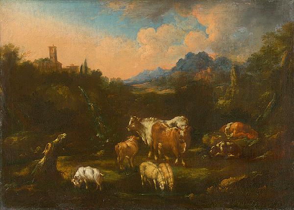Taliansky maliar z konca 17. storočia z okruhu Rosa di Tivoli – Romantická krajina so stádom