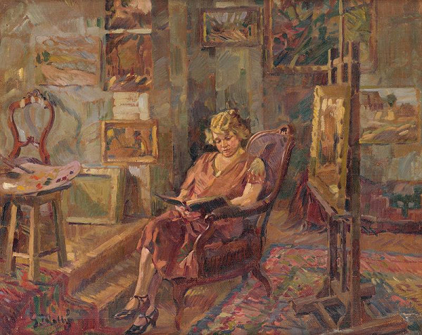 Gustáv Mallý - Návšteva v ateliéri