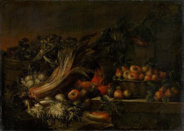 Neapolský maliar zo 17. storočia – Zátišie so zeleninou a ovocím