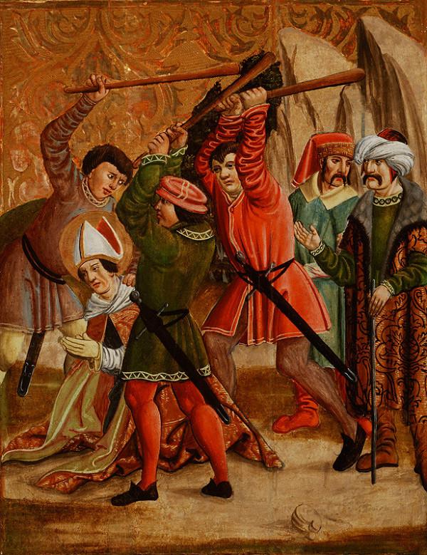 Slovenský maliar z 1. tretiny 16. storočia - Palicovanie svätca, Nesenie kríža - rub