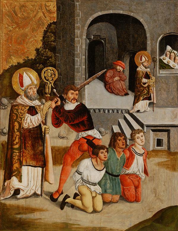 Slovenský maliar z 1. tretiny 16. storočia – Svätý Mikuláš zachraňuje troch mladíkov pred sťatím, Zajatie Ježiša - rub